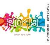happy new year 2019 text design ... | Shutterstock .eps vector #1095193433