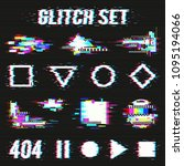 glitch set on black background... | Shutterstock .eps vector #1095194066