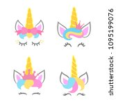cute unicorn faces. unicorn... | Shutterstock .eps vector #1095199076