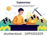 criptocoins miner maintaining... | Shutterstock .eps vector #1095201029