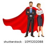 superheroes man and woman in... | Shutterstock . vector #1095202088