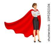 superhero woman in red cape ... | Shutterstock . vector #1095202106
