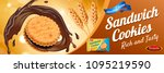 chocolate sandwich cookie ads... | Shutterstock .eps vector #1095219590