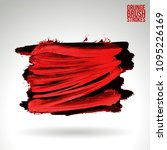 red brush stroke and texture.... | Shutterstock .eps vector #1095226169