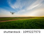 drone quad copter on green corn ... | Shutterstock . vector #1095227573