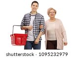 young man with a shopping...   Shutterstock . vector #1095232979