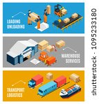 logistics banners set with... | Shutterstock .eps vector #1095233180