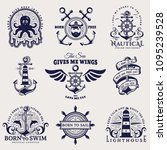 set of nautical emblems with... | Shutterstock .eps vector #1095239528