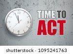 clock on the concrete wall with ... | Shutterstock .eps vector #1095241763