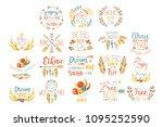 boho logo hand drawn banner set | Shutterstock .eps vector #1095252590
