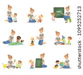 cute little boys and girls... | Shutterstock .eps vector #1095252713