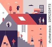 life scenes   flat design style ... | Shutterstock .eps vector #1095253973