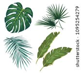 set of tropical leaves.... | Shutterstock .eps vector #1095254279