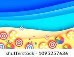 top view parasols   umbrella in ...   Shutterstock .eps vector #1095257636