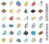 percent icons set. isometric... | Shutterstock . vector #1095258809