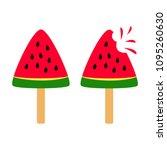 set of slice watermelon. vector ... | Shutterstock .eps vector #1095260630