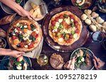 serving pizza food photography... | Shutterstock . vector #1095278219