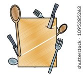 doodle emblem with cutlery... | Shutterstock .eps vector #1095285263
