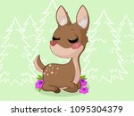 cute dreaming cartoon deer with ... | Shutterstock .eps vector #1095304379