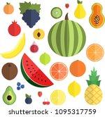 summer fruits and berries....   Shutterstock .eps vector #1095317759