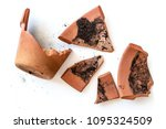 broken clay flower pot isolated ... | Shutterstock . vector #1095324509