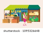 greengrosery with seller and... | Shutterstock .eps vector #1095326648