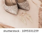 blush pink bridal shoes and... | Shutterstock . vector #1095331259