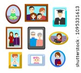 cartoon family photos in color... | Shutterstock .eps vector #1095331613
