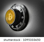 bitcoin btc safe steel box... | Shutterstock . vector #1095333650