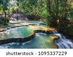 beautiful waterfall kuang si in ... | Shutterstock . vector #1095337229