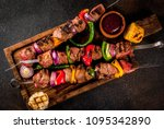 fresh  home cooked on the grill ... | Shutterstock . vector #1095342890