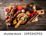 assortment various barbecue... | Shutterstock . vector #1095342953