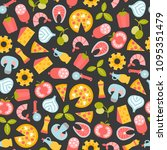 seamless pattern with pizza... | Shutterstock .eps vector #1095351479