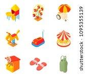 promenade icons set. cartoon... | Shutterstock . vector #1095355139