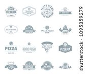 pizzeria logo icons set. simple ... | Shutterstock . vector #1095359279