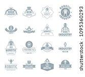 robot logo icons set. simple... | Shutterstock . vector #1095360293