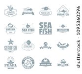 fish sea logo icons set. simple ... | Shutterstock . vector #1095360296