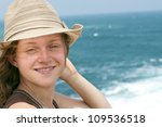 teenager with a hat smiles at... | Shutterstock . vector #109536518