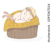 the baby sleeps with a toy | Shutterstock .eps vector #1095367016