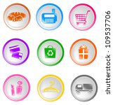set of glossy shopping icons ... | Shutterstock . vector #109537706