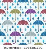 falling rain drops and... | Shutterstock .eps vector #1095381170