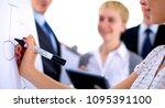 businesswoman writing on... | Shutterstock . vector #1095391100