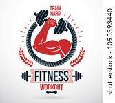 bodybuilding and fitness sport... | Shutterstock .eps vector #1095393440