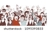 crowd of happy people or music... | Shutterstock .eps vector #1095393833