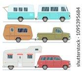 rv cars  travel mobile houses ... | Shutterstock .eps vector #1095395684