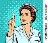 woman nurse attention gesture.... | Shutterstock .eps vector #1095401804