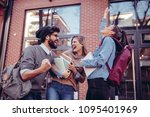 group of students standing... | Shutterstock . vector #1095401969