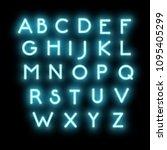 blur neon light font  vector... | Shutterstock .eps vector #1095405299