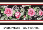 horizontal flower and paisley... | Shutterstock .eps vector #1095408983