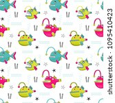 seamless vector pattern with... | Shutterstock .eps vector #1095410423